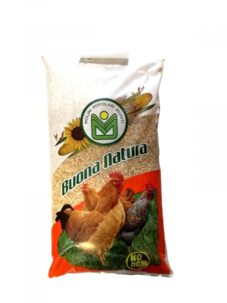 """Mangime per Galline, Polli e Avicoli da carne """"Buona Natura"""" No Ogm - 25kg"""