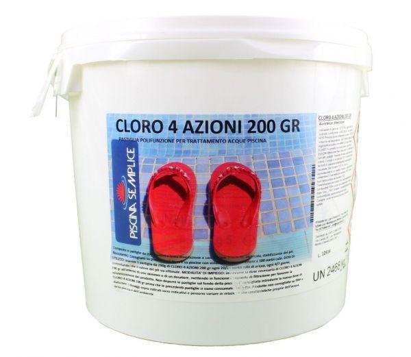 Cloro 4 azioni per piscina in pastiglie da 200gr secchiello 5kg Lapi Chimici