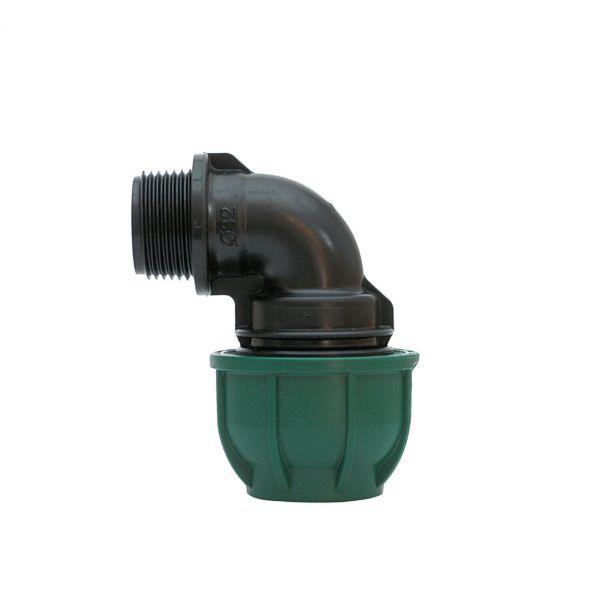 """Gomito a Compressione In Polipropilene PN10 - 32 mm x 3/4"""" M"""