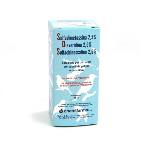 S.D.S. MEDICINALE ANTIBIOTICO Sulfadimetossina 2,5% Diaveridina 2,5% Sulfachinossalina 2,5% 45 ml uccelli