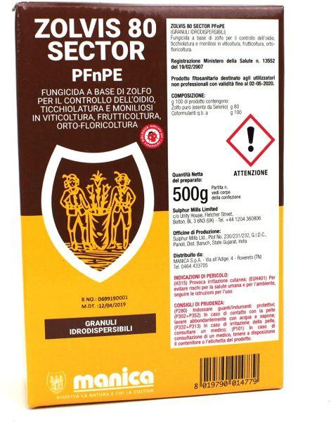 Fungicida Biologico a Base di Zolfo - Zolvis 80 Sector PFnPE 500 g